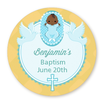 Baby Boy - Round Personalized Baptism / Christening Sticker Labels Option 1