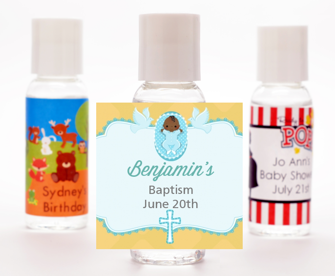 Baby Boy - Personalized Baptism / Christening Hand Sanitizers Favors Option 1