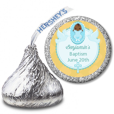 Baby Boy - Hershey Kiss Baptism / Christening Sticker Labels Option 1