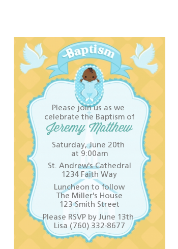 Baby Boy - Baptism / Christening Petite Invitations Option 1