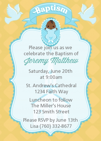 baby boy baptism christening invitations candles and favors