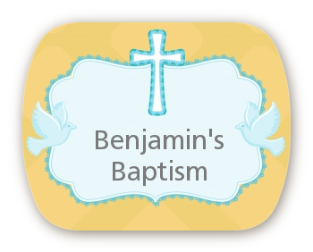 Baby Boy - Personalized Baptism / Christening Rounded Corner Stickers
