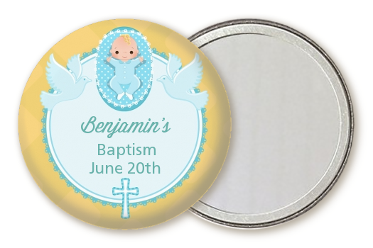 Baby Boy - Personalized Baptism / Christening Pocket Mirror Favors Option 1