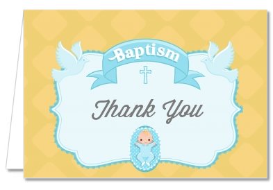 Baby Boy - Baptism / Christening Thank You Cards Option 1