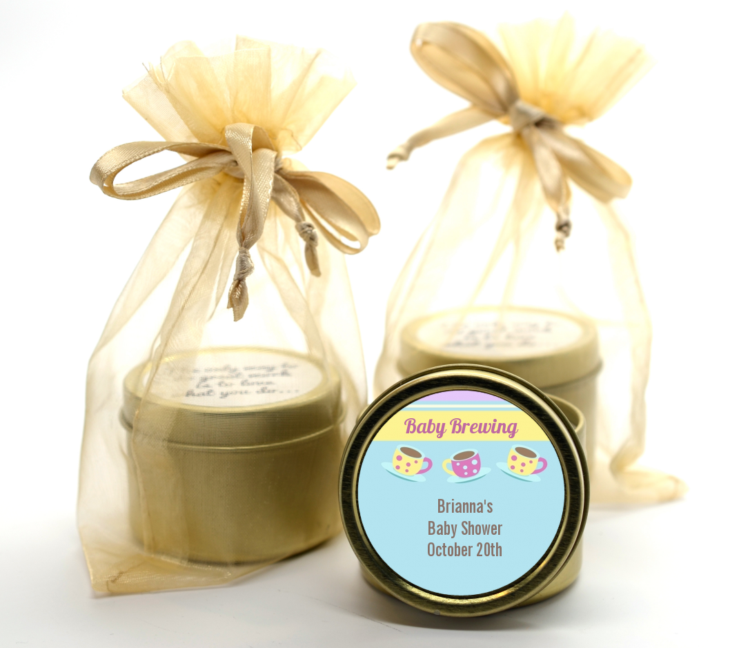 Baby Brewing Tea Party Gold Tin Candle Favors | Candles & Favors