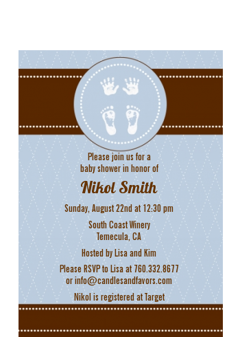 Baby Feet Pitter Patter Blue - Baby Shower Petite Invitations