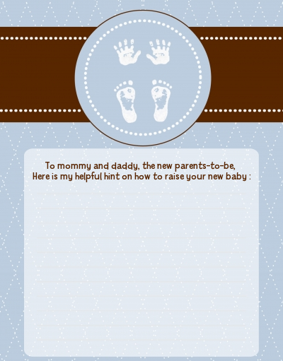 Baby Feet Pitter Patter Blue - Baby Shower Notes of Advice