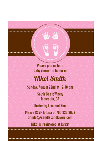 Baby Feet Pitter Patter Neutral - Baby Shower Petite Invitations Neutral