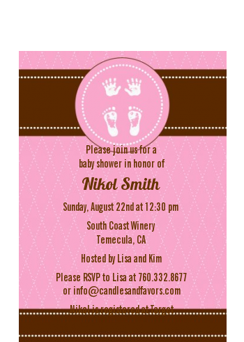 Baby Feet Pitter Patter Pink - Baby Shower Petite Invitations