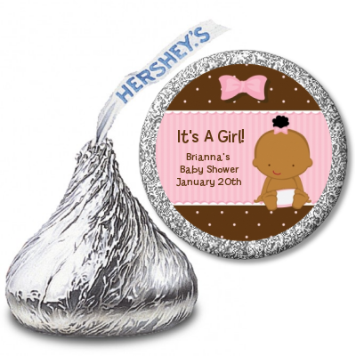 Baby Girl African American - Hershey Kiss Baby Shower Sticker Labels