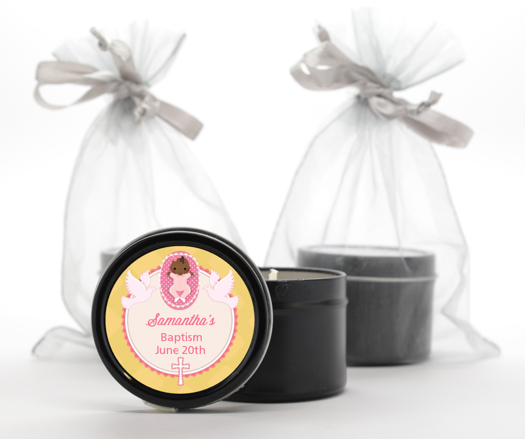 Baby Girl - Baptism / Christening Black Candle Tin Favors Option 1