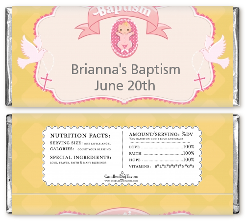 Baby Girl - Personalized Baptism / Christening Candy Bar Wrappers Option 1
