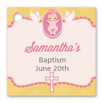 Baby Girl - Personalized Baptism / Christening Card Stock Favor Tags Option 1