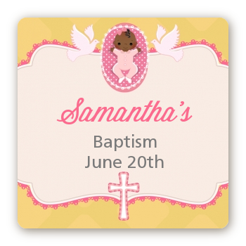 Baby Girl - Square Personalized Baptism / Christening Sticker Labels Option 1
