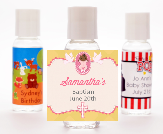 Baby Girl - Personalized Baptism / Christening Hand Sanitizers Favors Option 1