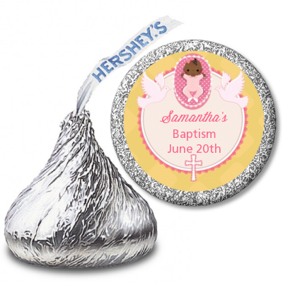 Baby Girl - Hershey Kiss Baptism / Christening Sticker Labels Option 1