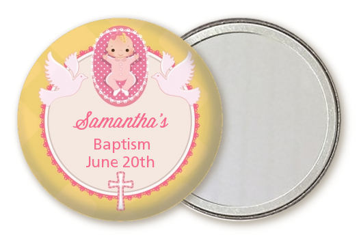Baby Girl - Personalized Baptism / Christening Pocket Mirror Favors Option 1