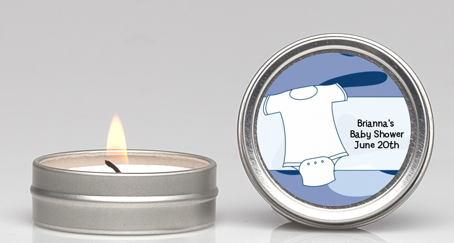 Baby Outfit Camouflage - Baby Shower Candle Favors Blue
