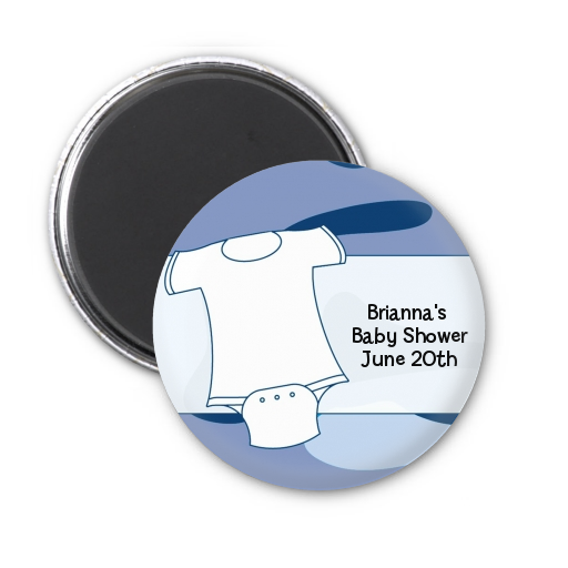 Baby Outfit Camouflage - Personalized Baby Shower Magnet Favors Blue