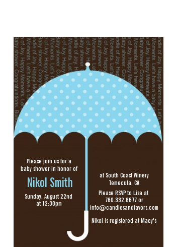 Baby Sprinkle Umbrella Blue - Baby Shower Petite Invitations