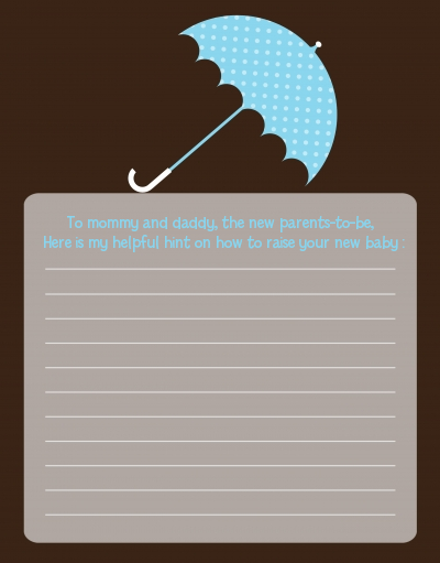 Baby Sprinkle Umbrella Blue - Baby Shower Notes of Advice