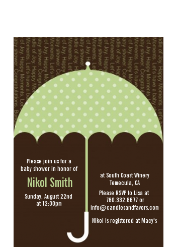 Baby Sprinkle Umbrella Green - Baby Shower Petite Invitations