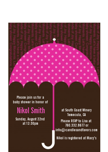 Baby Sprinkle Umbrella Pink - Baby Shower Petite Invitations