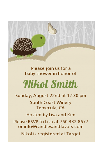 Baby Turtle Neutral - Baby Shower Petite Invitations