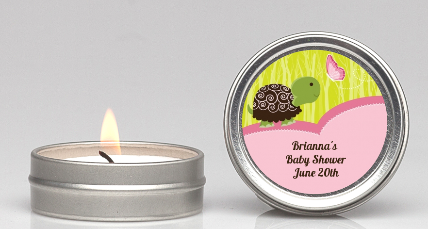 Baby Turtle Pink Candle Personalized Baby Shower Favors