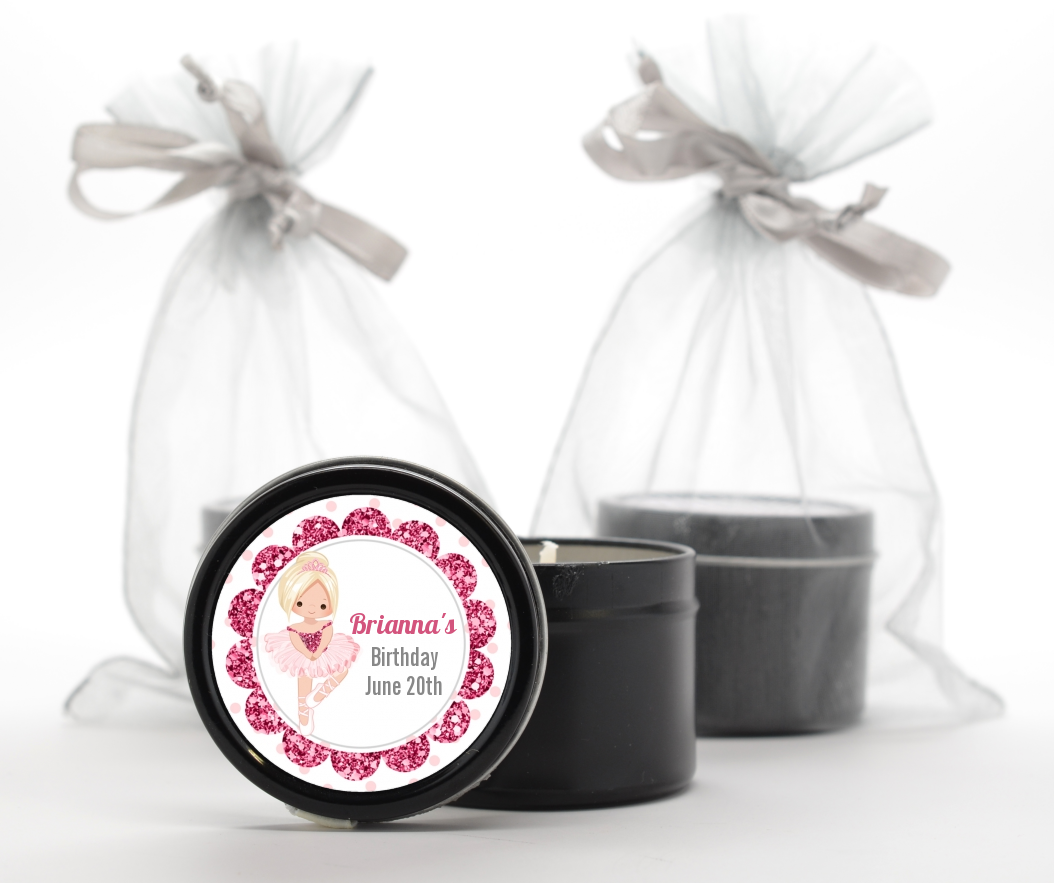 Ballerina - Birthday Party Black Candle Tin Favors Black Hair