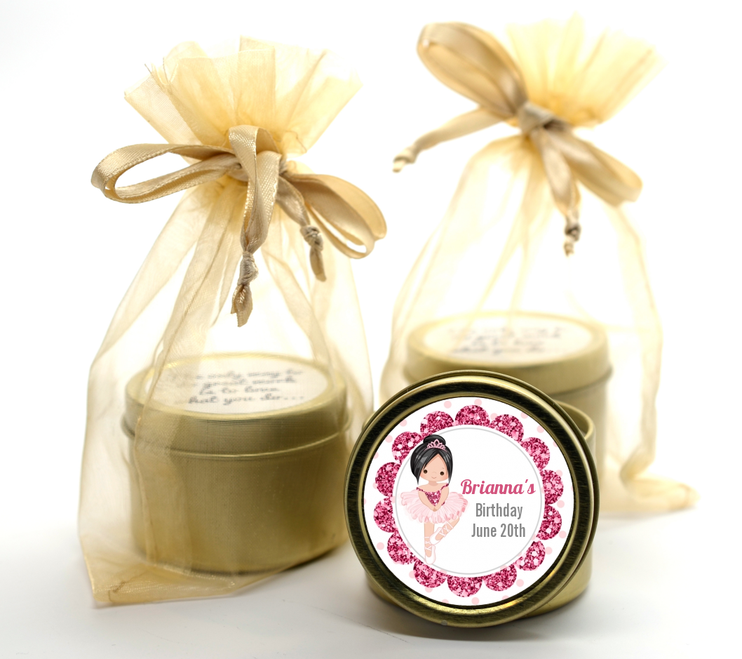 Ballerina - Birthday Party Gold Tin Candle Favors Black Hair