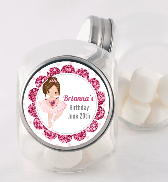 Ballerina - Personalized Birthday Party Candy Jar Black Hair