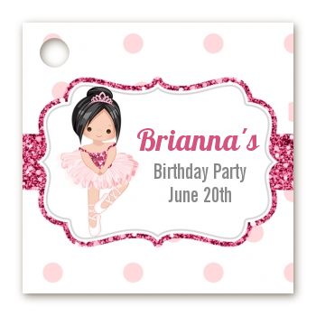 Ballerina - Personalized Birthday Party Card Stock Favor Tags Black Hair