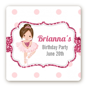 Ballerina - Square Personalized Birthday Party Sticker Labels Black Hair