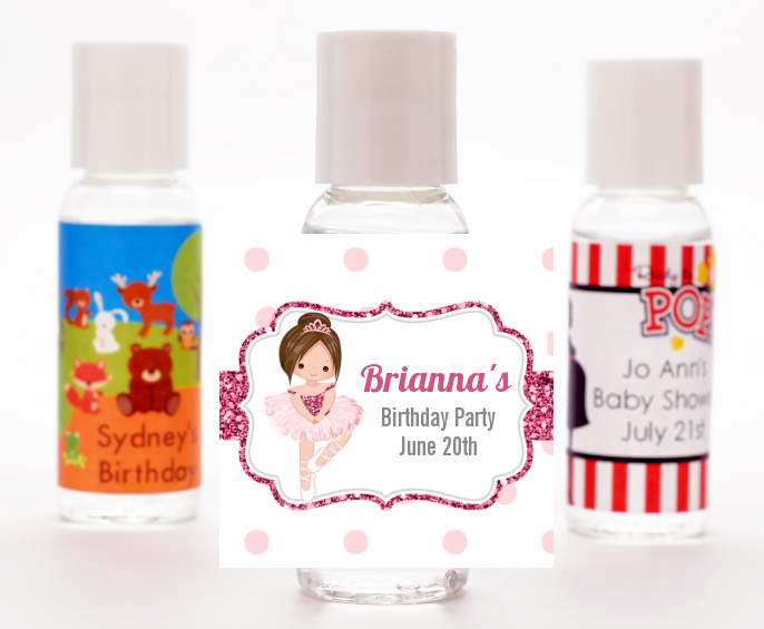 Ballerina - Personalized Birthday Party Hand Sanitizers Favors Black Hair