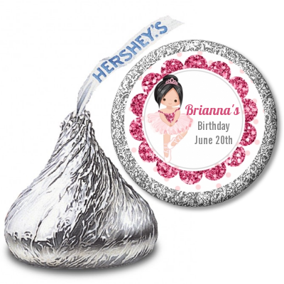 Ballerina - Hershey Kiss Birthday Party Sticker Labels Black Hair