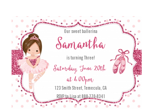 Ballerina - Birthday Party Petite Invitations Black Hair