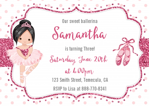 Ballerina Birthday Party Invitations Candles and Favors