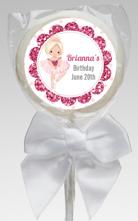 Ballerina - Personalized Birthday Party Lollipop Favors Black Hair