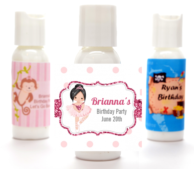 Ballerina - Personalized Birthday Party Lotion Favors Black Hair