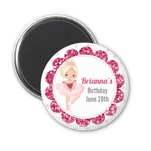 Ballerina - Personalized Birthday Party Magnet Favors Black Hair
