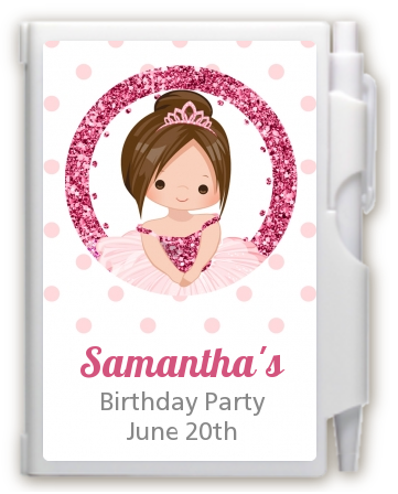 Ballerina - Birthday Party Personalized Notebook Favor Black Hair