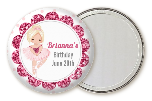 Ballerina - Personalized Birthday Party Pocket Mirror Favors Black Hair