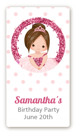 Ballerina - Custom Rectangle Birthday Party Sticker/Labels Black Hair