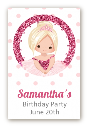 Ballerina - Custom Large Rectangle Birthday Party Sticker/Labels Black Hair