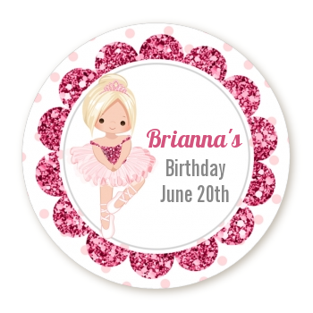 Ballerina - Round Personalized Birthday Party Sticker Labels