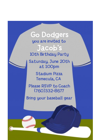 Baseball Jersey Blue and Grey - Birthday Party Petite Invitations