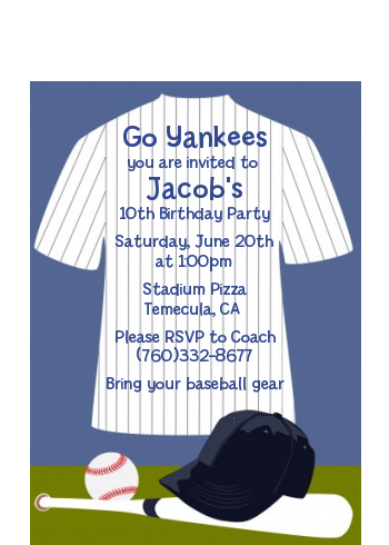 Baseball Jersey Blue and White Stripes - Birthday Party Petite Invitations