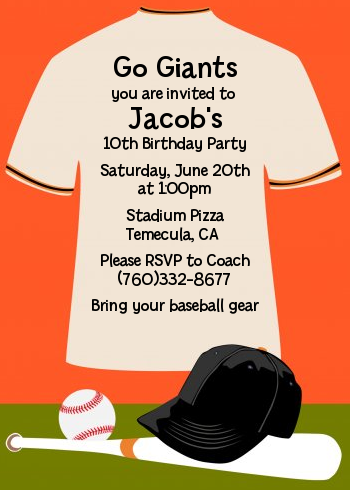 Baseball Jersey Orange and Black - Birthday Party Invitations