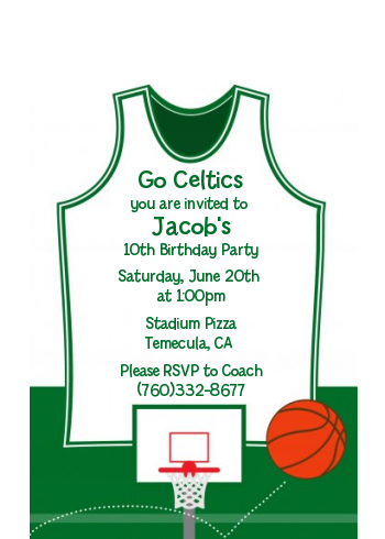 Basketball Jersey Green and White - Birthday Party Petite Invitations